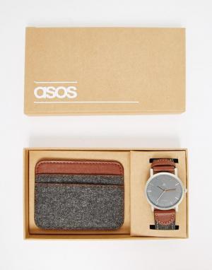 Набор из часов и визитницы темно-серого фетра ASOS. Цвет: угольный