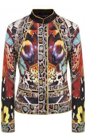 Приталенная кожаная куртка с воротником-стойкой и принтом Roberto Cavalli. Цвет: разноцветный