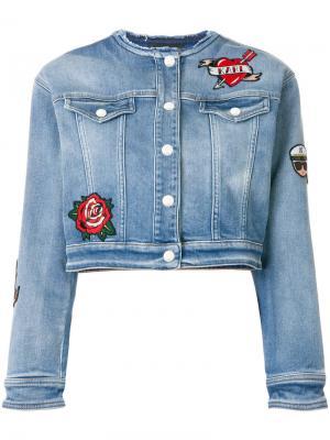Джинсовая куртка с нашивками Karl Lagerfeld. Цвет: синий