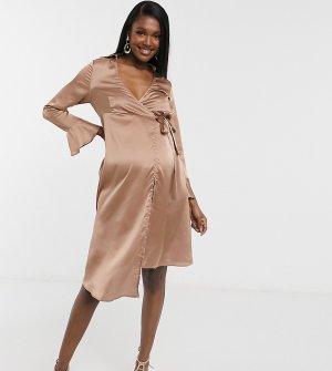 Платье-пиджак серо-коричневого цвета с завязками и рукавами-клеш -Бежевый Outrageous Fortune Maternity