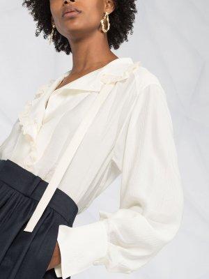 Блузка с оборками Chloé. Цвет: нейтральные цвета