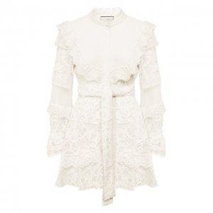 Платье с поясом Alexis. Цвет: белый