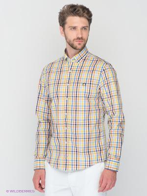 Рубашка Claudio Campione. Цвет: желтый, синий, коричневый
