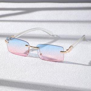 Мужские квадратные солнцезащитные очки без оправы SHEIN. Цвет: многоцветный