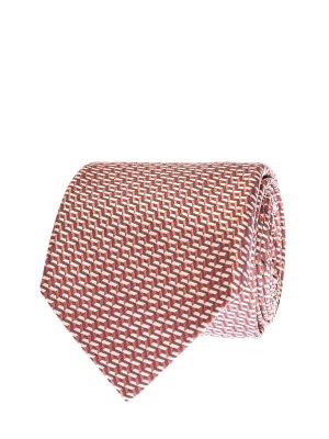 Шелковый галстук с фактурным геометрическим узором CANALI. Цвет: красный