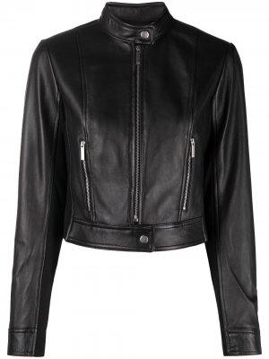 Укороченная байкерская куртка Michael Kors. Цвет: черный