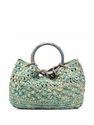 Пляжная сумка-тоут Picot Gas Bijoux. Цвет: зеленый