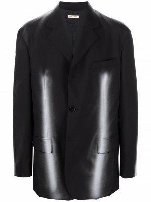 Однобортный пиджак с абстрактным принтом Marni. Цвет: черный
