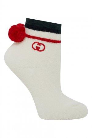 Носки с помпонами Gucci. Цвет: белый