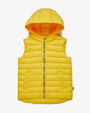 Стёганый жилет с капюшоном Benetton. Цвет: желтый