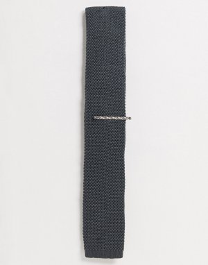 Однотонный трикотажный галстук и зажим для галстука -Серый Ben Sherman