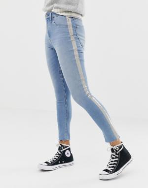 Укороченные джинсы скинни с завышенной талией и вставками металлик -Синий Abercrombie & Fitch