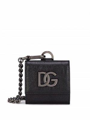 Кошелек с логотипом и ланъярдом Dolce & Gabbana. Цвет: черный