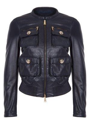 Куртка кожаная DSQUARED2. Цвет: синий