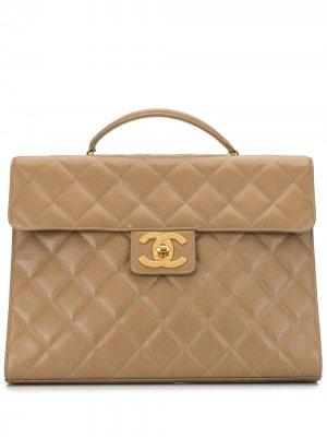 Стеганый портфель 1995-го года Chanel Pre-Owned. Цвет: коричневый
