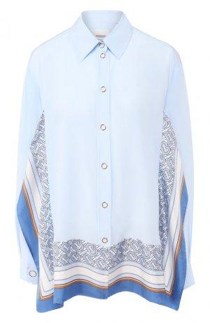 Шелковая блузка Burberry. Цвет: светло-голубой