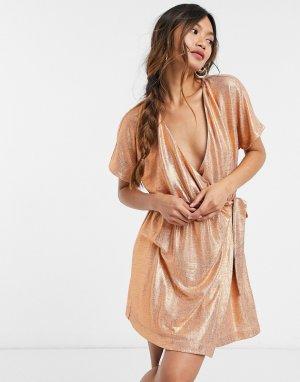 Платье мини с запахом цвета бронзовый металлик -Золотой Elvi