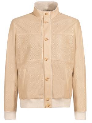 Кожаная куртка BILANCIONI. Цвет: бежевый