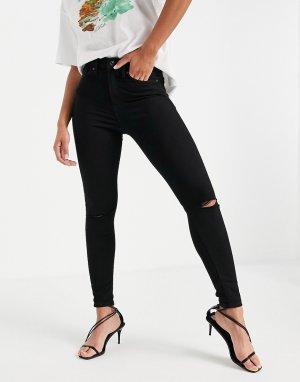 Черные зауженные джинсы со рваной отделкой Jamie-Черный цвет Topshop