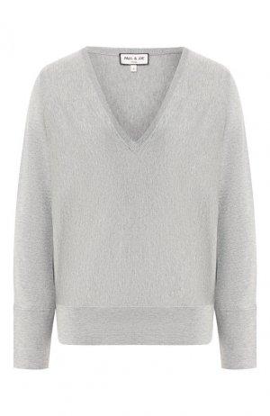 Пуловер из смеси шерсти и хлопка Paul&Joe. Цвет: темно-серый