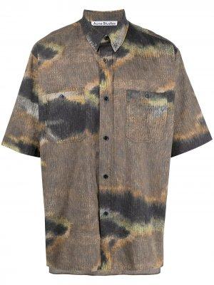 Рубашка с абстрактным принтом Acne Studios. Цвет: коричневый