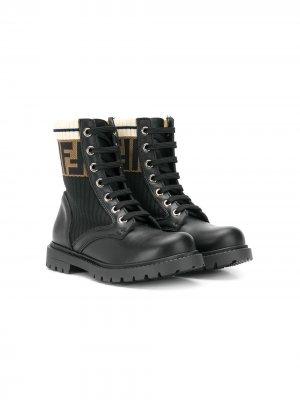Ботинки с логотипом FF Fendi Kids. Цвет: черный