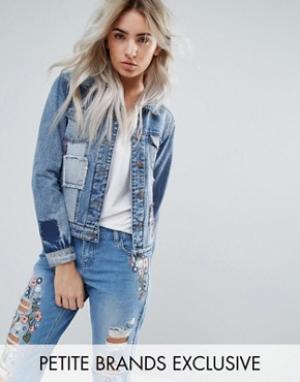 Джинсовая куртка с отделкой в стиле пэчворк Urban Bliss Petite. Цвет: мульти