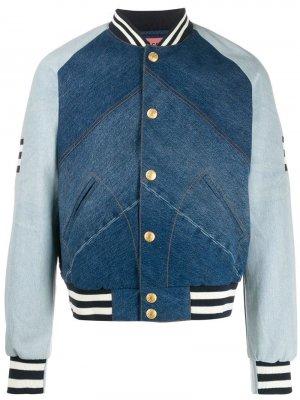 Джинсовая куртка бомбер со вставками Acne Studios. Цвет: синий