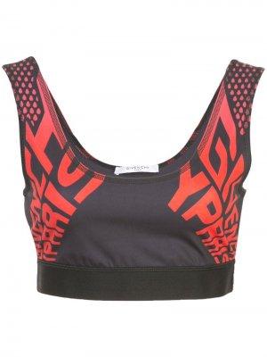 Спортивный бюстгальтер с логотипом Givenchy. Цвет: черный