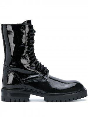 Лакированные ботинки на шнуровке Ann Demeulemeester. Цвет: черный