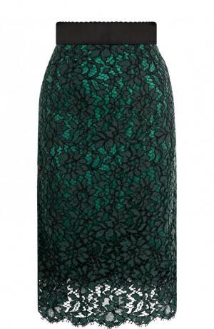 Кружевная юбка-миди с широким поясом Dolce & Gabbana. Цвет: темно-зеленый