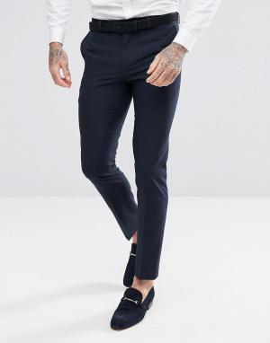 Темно-синие брюки под смокинг зауженного кроя Harry Brown. Цвет: темно-синий