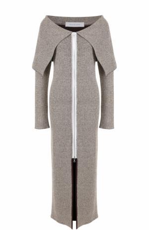Вязаное платье-миди с открытыми плечами Walk of Shame. Цвет: серый