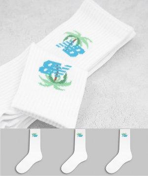 Набор из 3 пар белых носков с пальмами -Белый New Balance