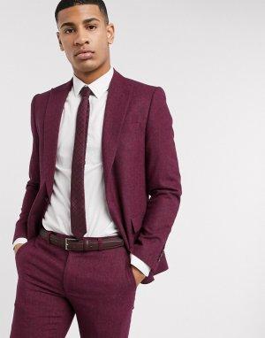 Красный приталенный пиджак с шевронным узором Moss London BROS
