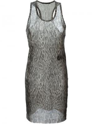 Полупрозрачная удлиненная майка с леопардовым принтом Haider Ackermann. Цвет: серый
