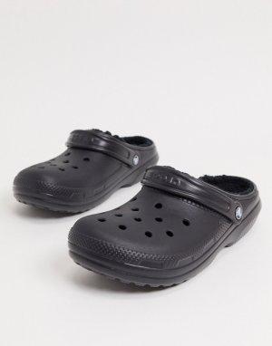 Черные классические клоги с ворсовой подкладкой -Черный Crocs