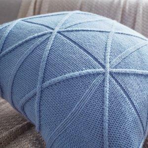 Однотонный вязаный чехол подушки без наполнителя SHEIN. Цвет: пыльно-синий