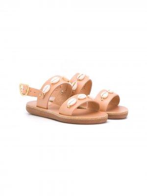 Декорированные сандалии Little Clio Ancient Greek Sandals. Цвет: нейтральные цвета