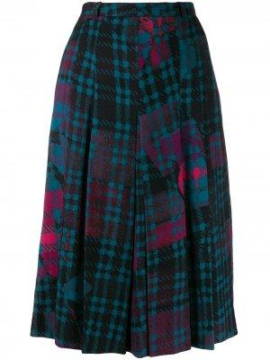 Клетчатая юбка миди 1970-х годов Jean Louis Scherrer Pre-Owned. Цвет: синий