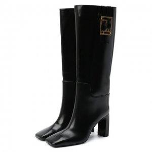 Кожаные сапоги Meander Versace. Цвет: чёрный