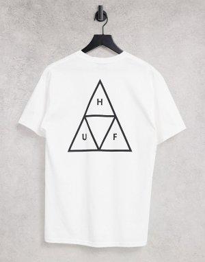Белая футболка с тройным треугольным логотипом Essentials-Белый HUF