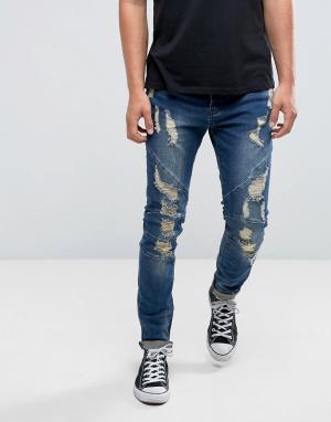 Синие состаренные джинсы скинни Cayler & Sons. Цвет: синий