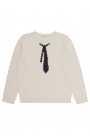 Шерстяной пуловер с орнаментом Bonpoint. Цвет: бежевый