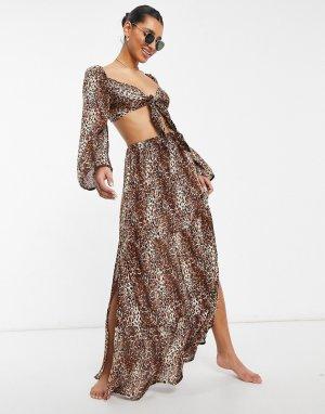 Пляжная юбка макси с леопардовым принтом от комплекта -Многоцветный ASOS DESIGN