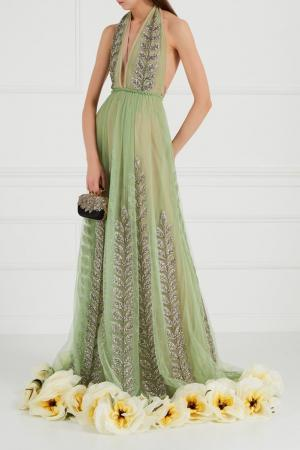 Платье из сетки с вышивкой кристаллами Gucci. Цвет: зеленый