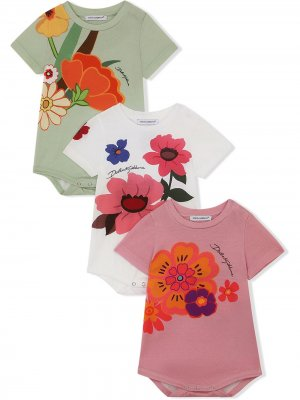 Боди из джерси с цветочным принтом Dolce & Gabbana Kids. Цвет: белый
