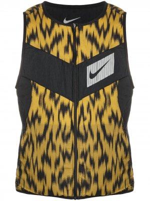 Жилет с абстрактным принтом Nike. Цвет: черный