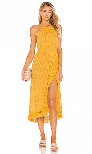 Платье миди adela Sundress. Цвет: желтый