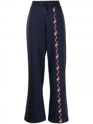 Расклешенные спортивные брюки Agnesina Fila. Цвет: синий